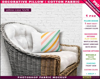 12x16 Decorative Pillow Cotton Fabric | Photoshop Fabric Mockup M1-1216-1 | Cushion on White Basket Armchair | Smart Object Custom colors