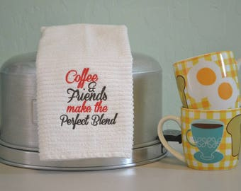 Embroidered Bar Mop Towel / Kitchen Towel / COFFEE & FRIENDS make the Perfect Blend / COFFEE Embroidery