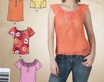 Cute ladies' tops pattern NEW/uncut sizes 8, 10, 12, 14, 16, 18
