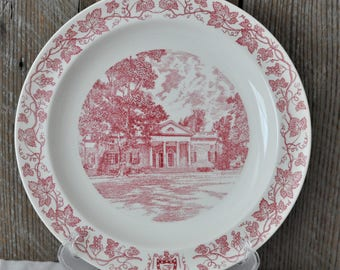 Wedgwood Home of Thomas Jefferson East Front Monticello Mulberry Red Vines Decorative Plate USA Landmark Mansion Historic Plate & Mulberry plates | Etsy
