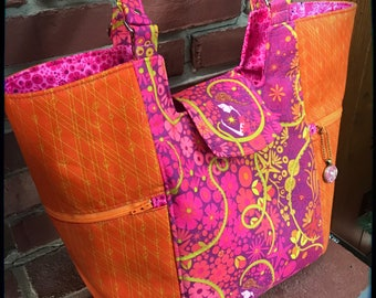 Bright and Cheery Mimosa Market Tote in Alison Glass Diving Board Fabrics
