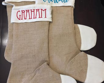 Custom Embroidered Burlap Christmas Stocking