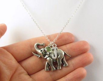 Elephant Necklace- choose a birthstone and initial, Elephant Jewelry, Elephant Gift, Personalized Elephant, Elephant Charm, Elephant Present