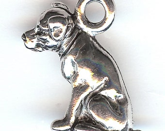 PITBULL DOG Charm. Pewter. 3D Sitting Dog. Staffordshire Bull Terrier. American Pit Bull. Made in the USA. cnt