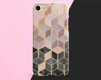 iPhone X Case, iPhone 8 Plus Case, iPhone 7 Case, iPhone 6 Case, iPhone 8 Case, iPhone 7 Plus Case, Geometric, Marble Phone Case, Rose Gold