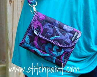 Small Crossbody Wallet with Strap / Wearable Wallet Organizer / Womens Wallet Purse / Mini Wallet / Ready to Ship / Stitchpaint /City Swirls