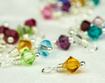 Swarovski Birthstone Charm, One Charm, Small, Swarovski Crystal Dangle, 4mm Bicone Crystal Charm, Add on Birthstone Charm, Handmade