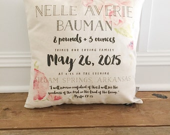 Water Color Floral Birth Announcement Pillow Cover