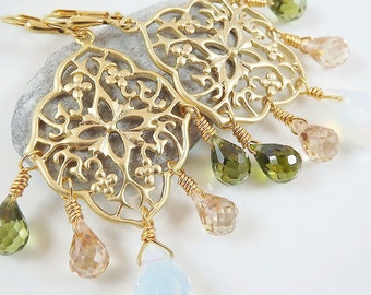 Floral Chandelier Earrings With Faceted Opalet, Olive & Champagne Tear Drops -  Lever Back Ear Wires