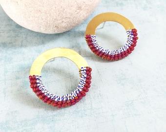 Open circle brass earrings - tribal earrings - big stud earrings - beaded brass earrings -geometric brass earrings -statement brass earrings