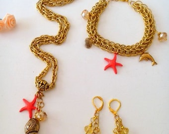 Handcrafted Gold Nautical Necklace Earrings and ChainMaille Bracelet Jewelry Set