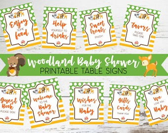 Woodland Baby Shower Table Signs, Printable Woodland Party Favors, Party Decor, Woodland Baby Shower Theme Printables and Signs