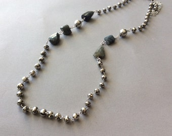 Labradorite and leather necklace