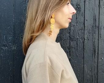 Clip on earrings Dangle earrings Gold earrings Statement earrings Geometric earrings Girlfriend gift Long earrings Drop earrings Handmade