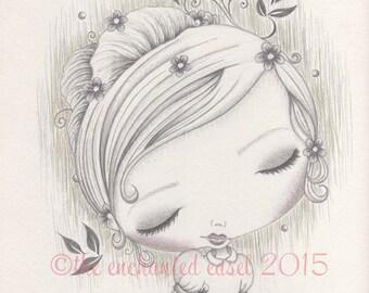 Flower Girl Drawing, Girls Wall Art, Whimsical, Graphite,  Summer, Spring, Flowers, Girls Room, Seasonal, Children's Art, Pencil