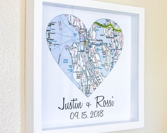 Heart map gift etsy personalized map art gift heart map art framed unique wedding gift any location available personalized map gumiabroncs Gallery