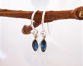 Sapphire Earrings, Marquise, Hook Earrings, Silver or 14kt Yellow Gold Filled, Bridal, Something Blue, September Birthstone
