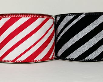 "2 1/2"" Velvet Candy Stripes Ribbon - 10 Yards"