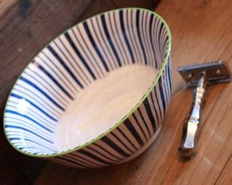 Luxury Organic Shaving Soap - DARWIN - in Blue and White Ceramic Bowl