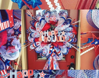 fourth of july independence day red white and blue wreath