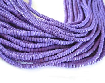 Coconut bead 150 lilac wood Beads - Coconut Rondelle Disk Beads 4-5mm  (PC219J)