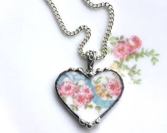 Pink roses blue ribbon - broken china jewelry, heart pendant necklace, antique pink roses, porcelain, china heart, Dishfunctional Designs