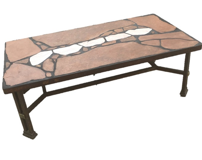 "Arizona Stripe: A natural 55 1/2 x 29 1/2 x 18 1/2"" tall stone topped folk art coffee table with rose marble focus stones on a recycled base"