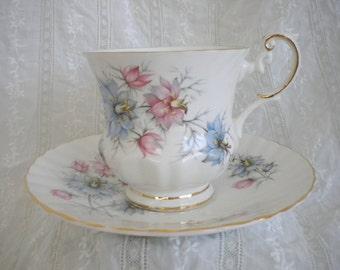 Queens Rosina China Co. Ltd. • Vintage Bone China Teacup Tea Cup & Saucer • Romantic Shabby Chic Floral Blue Pink Larkspur Delphinium