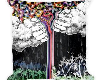 Rain Accent Pillow - Throw Pillow, Psychedelic Home Decor, Art Pillow