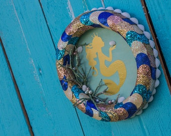 Princess/ Mermaid/ Wall Decor/ Little Mermaid/ Gold/ Kids Room/ Mermaid Wreath