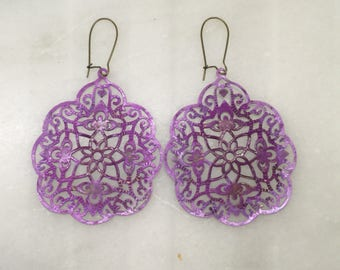 Violet Ombré Patina India Style Filigree Dangle Earrings  Bohemian Jewelry    Lightweight Earrings  Statement Earrings  Gift for her