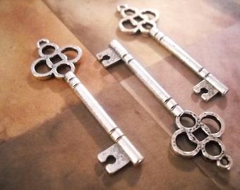 Bulk Skeleton Keys Antiqued Silver Skeleton Key Pendants Steampunk Keys Key Charms Wholesale Keys 47mm 50pcs