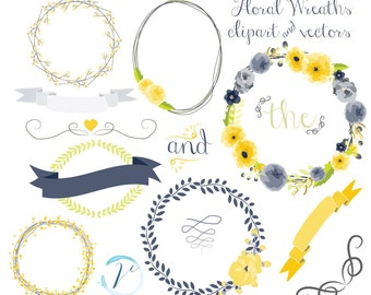 Clipart, Navy & Yellow Floral Wreath Vectors: Digital Clipart Set