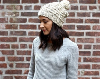 The Astoria - OATMEAL // Slouchy Chunky Knit Beanie Hat wool pom pom