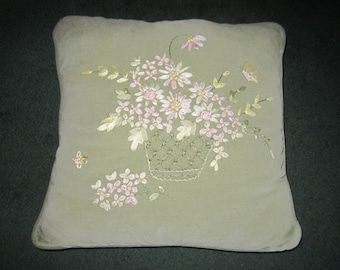 Vintage Vintage Sweet Light Green Throw Pillow with Applied Pink Silk Flowers