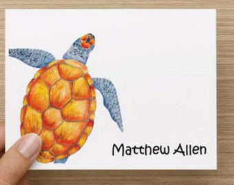 Baby thank you card: Personalized and personally designed watercolor turtle baby  shower thank you card! Multiple pack sizes available!