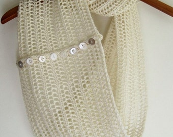PDF Knitting Pattern for the Winter Forest Cowl in Fleece White Merino And Vintage Buttons - Boho, Zen, Minimalist, Woodland - Knit Your Own