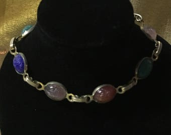 1950's Gold Tone Scarab Bracelet with Multi Colored Scarabs