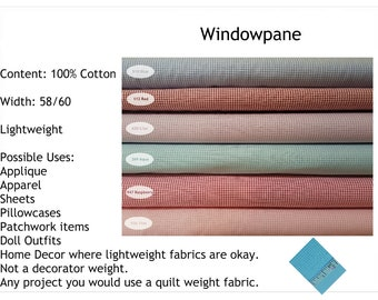 "Windowpane Fabric 60"" Wide  Available in Blue Red Lilac Aqua Raspberry Pink Navy and more"