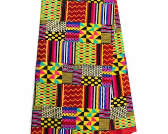 Faux Patchwork kente fabric, 6 yards/ African fabric/ patchwork Kente print/ red Kente Cloth/ Prom dress fabric/ African Fabric / KF318