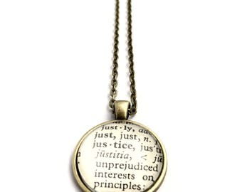 JUSTICE Vintage Dictionary Word Pendant