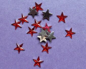 10 glitter Red Star Diamond rhinestones
