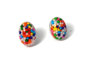 Oval Sprinkles Stud Earrings, Rainbow Posts, Kawaii Candy Jewelry