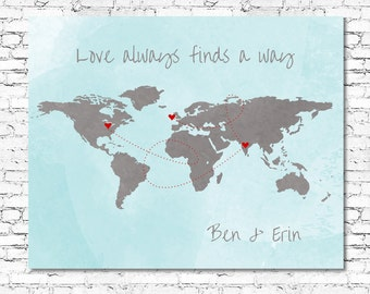 Love world map etsy customised world map love always finds a way printable quote wedding birthday valentines day wall art any size gumiabroncs Gallery