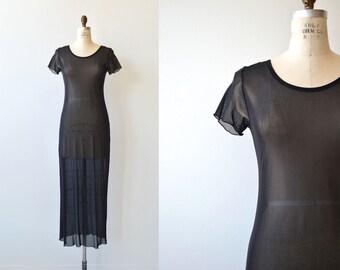Sheer Maxi dress | sheer black 90s dress | vintage 1990s mesh dress