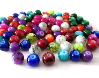 90 speckled glass beads mix color 6mm