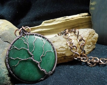 Large Green Aventurine Wire wrapped Window Ornament Copper Tree of Life Reversible