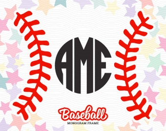 Baseball Stitches Monogram Frame (SVG, EPS, DXF Studio3) Cut Files for use with Silhouette Studio, Cricut Design Space, Cutting Machines