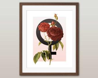 Femme - Venus Symbol Floral print - Vintage botanical print, Feminist floral print, Feminist gift, gift for her