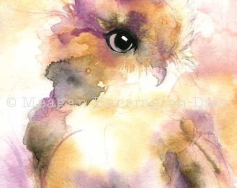 Owl Painting LARGE 13x19 print - Owl Art - Owl Watercolor  - Whimsical painting